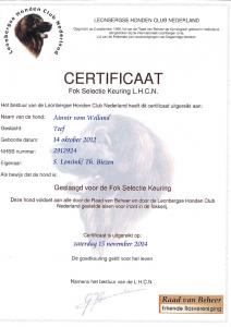 2014-11-15 Certificaat Fok Selectie Keuring LHCN